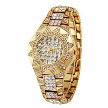 Вс женщина часы 2016 люксовый бренд золото горный хрусталь Кристалл Алмаза кварцевые часы дамы наручные часы 2016 новый relogio feminino