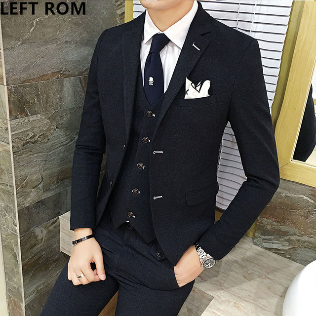 ed2a38f396 LEFT ROM 2017 Men s suits three suits business dresses wedding dresses  Men s casual dress suit jacket   Vest + pants S-3XL