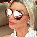 2017 Pink Sunglasses Women Newest Brand Cateye Reflection Mirror Sunglasses Female Half Frame Men Sun Glasses Rose Gold Lunette