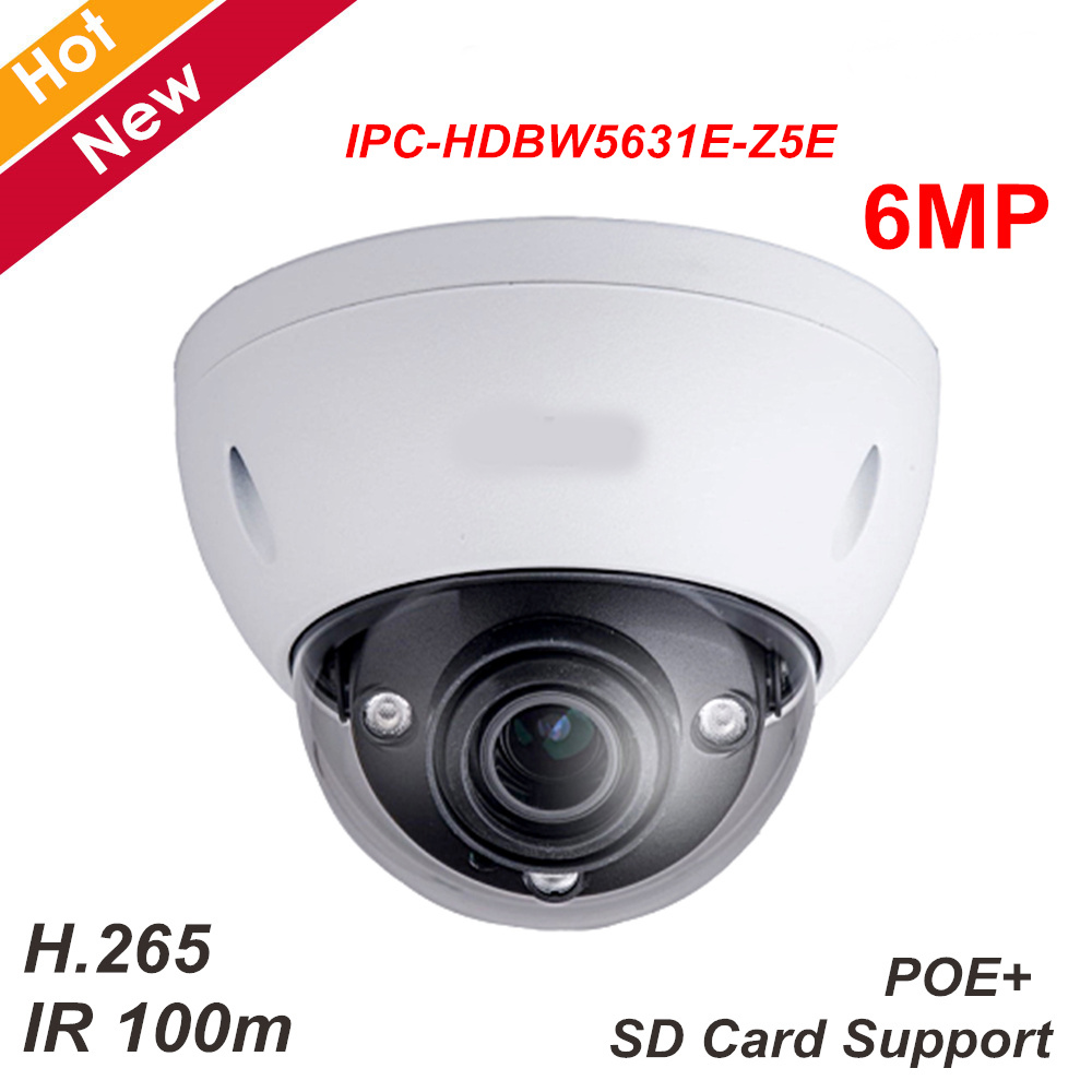 New DH 6mp IP Camera IPC-HDBW5631E-Z5E WDR IR Dome Network Camera Support SD card H.265 7mm-35mm 5X zoom lens IR 100m Camera