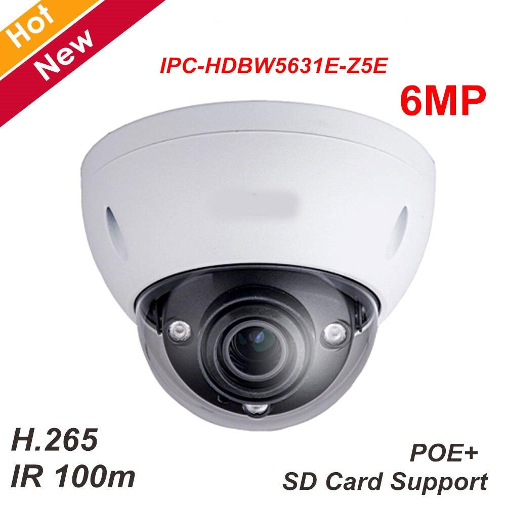 Nouveau DH 6mp IP Caméra IPC-HDBW5631E-Z5E WDR IR Dôme Réseau Support de Caméra SD carte H.265 7mm-35mm 5X zoom lentille IR 100 m Caméra