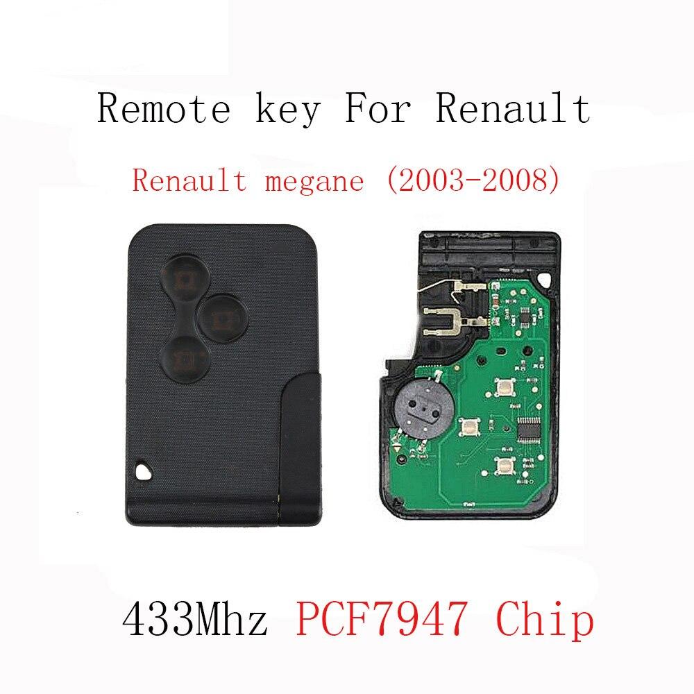 3 boutons Smart Key Télédéverrouillage Fob Pour Renault Megane 2003 2004 2005 2006 2007 2008 Avec PCF7947 Puce 433 mhz Clé Originale