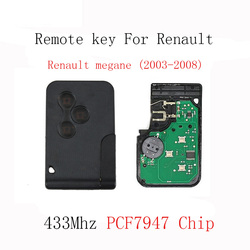 3Buttons Smart Remote Key Keyless Fob For Renault Megane 2003 2004 2005 2006 2007 2008 With PCF7947 Chip 433Mhz Original Key