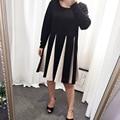 Plus size mulheres 4xl roupas de inverno vestidos de outono grande xxxl flare vestido de Manga Longa O Pescoço Preto Casual Vestido Midi Roupas Grandes