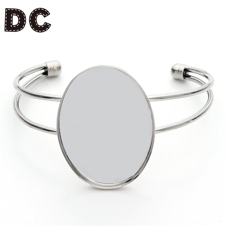 DC Cabochon Adjustable Opening Vintage Bracelet Settings 40x30mm Cabochons Bases Silver Color Bangle Blanks Trays Accessories