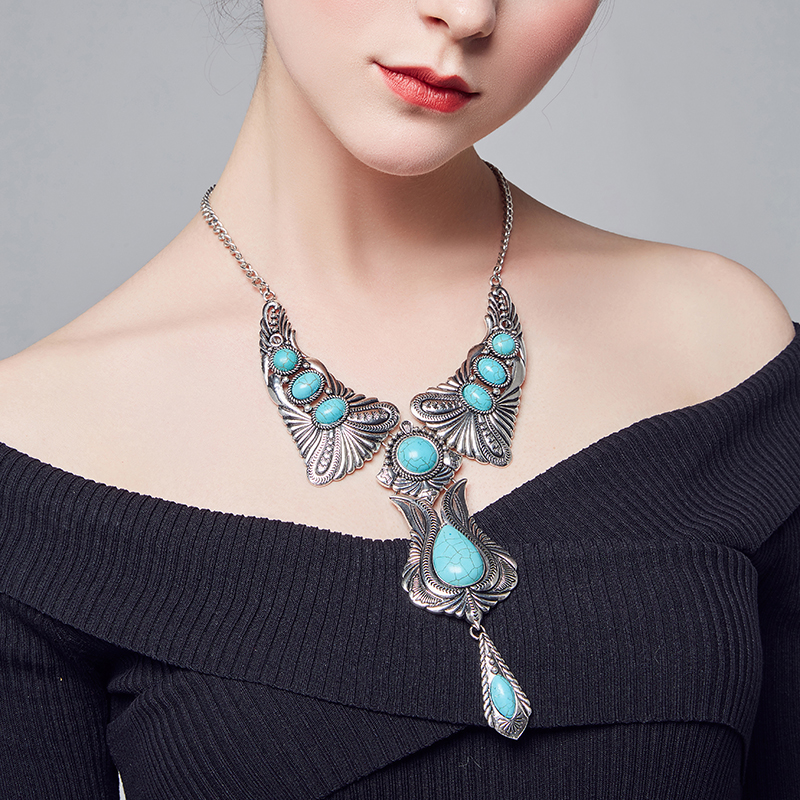 Fashion Jewelry Natural Turquoise Stone Pendant Necklace Women lover Valentines Day gifts vintage Butterfly Flower necklaces