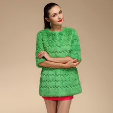 Spring Autumn Ladies' Genuine Natural Rabbit Fur Coat Ruffle Style Women Fur Outerwear Overcoat VF0572