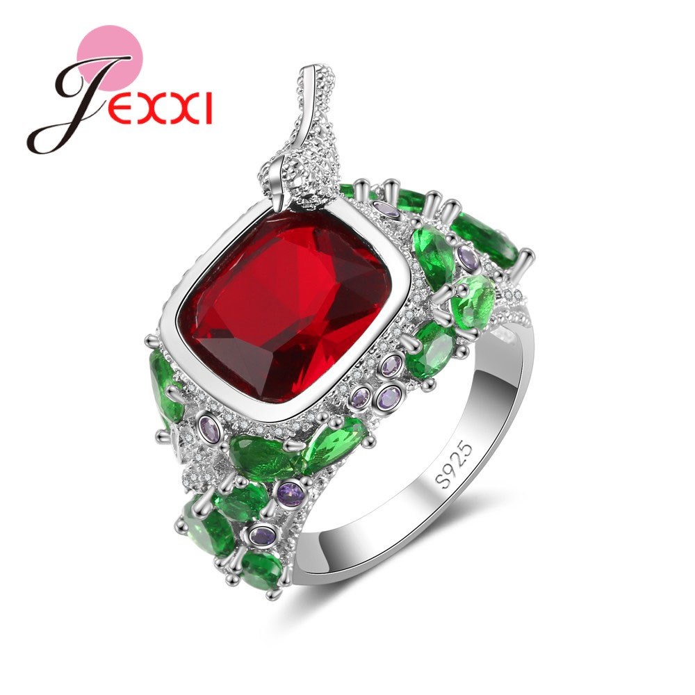 Jemmin 925 Sterling Silver Europe  The United States Explosion Square Red Crystal Zircon Ring Jewelry Pliers Small CrystalJemmin 925 Sterling Silver Europe  The United States Explosion Square Red Crystal Zircon Ring Jewelry Pliers Small Crystal