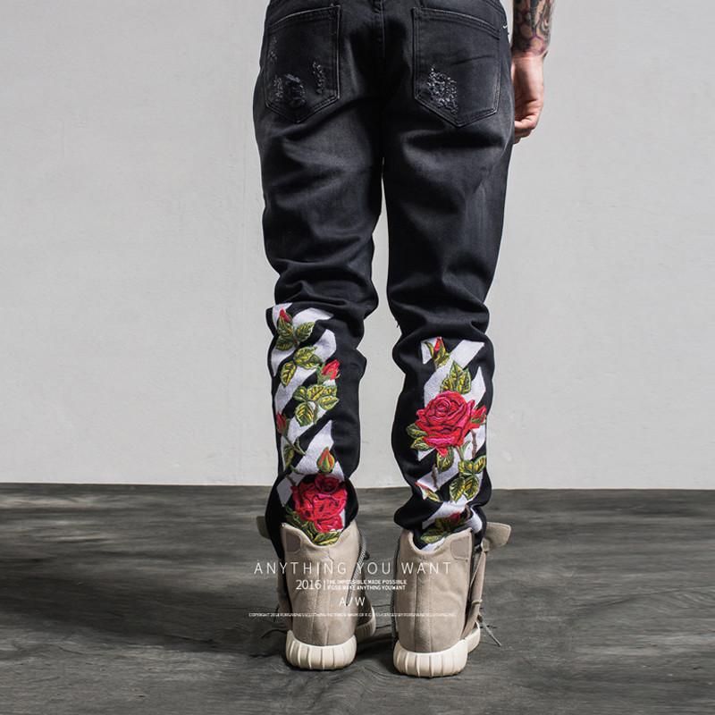 Embroidery Hole Ripped Jeans 2019 Brand Casual Slim Skinny Blue Black Jeans Roses Embroidery Men's Trousers Denim Pants WY078