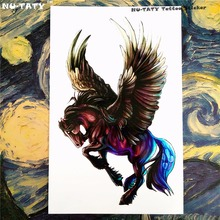 Nu-TATY Black Pegasus Horse Temporary Tattoo Body Art Sleeve Arm Flash Tattoo Stickers 12x20cm Painless Henna Selfie Tattoo