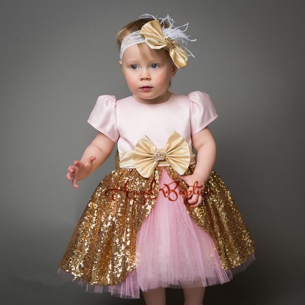 9814fc13f2a9b US $80.0 |Sparkly Pretty Pink flower girl dresses gold sequins baby girl  princess tutu dress 1st birthday prom party outfit with bow-in Dresses from  ...
