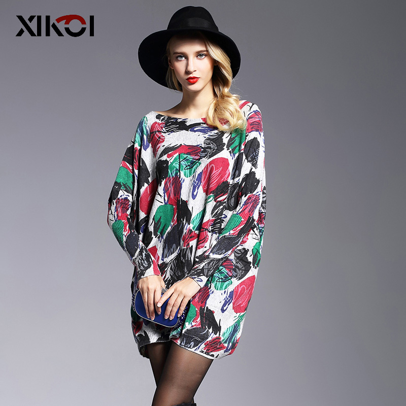 XIKOI Oversize Sweater Women Jumper Fashion Long Batwing Sleeve Pullover Print Slash Neck Pullovers Knitted Women Sweaters