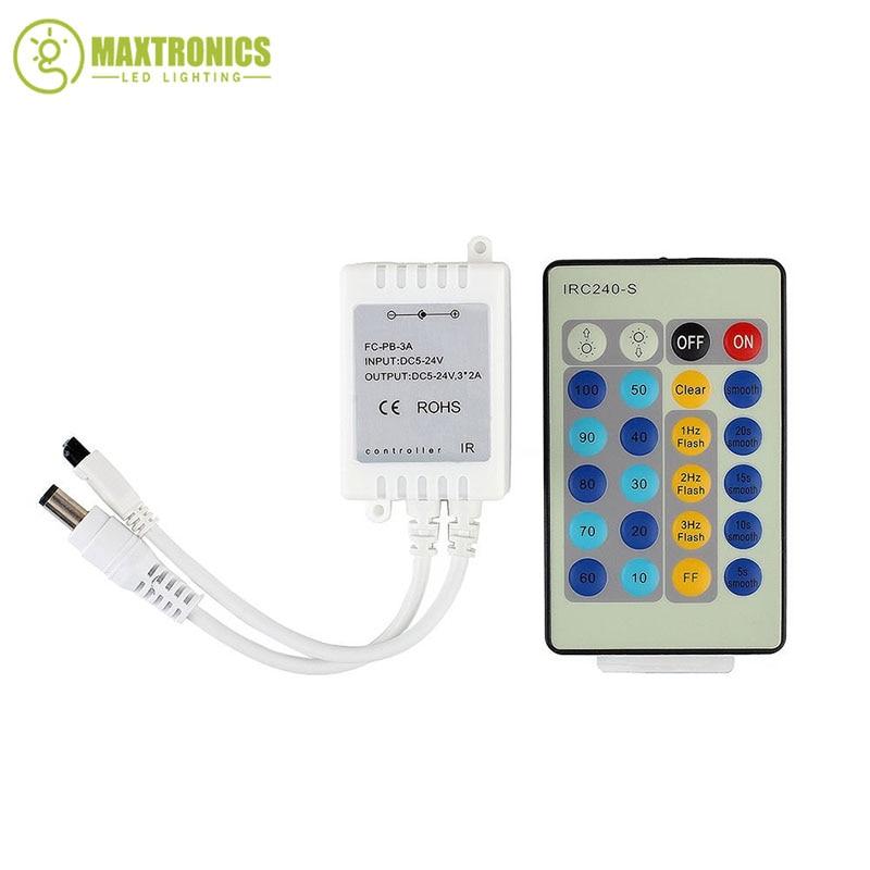 24Keys IR Remote Controller Dimmer For DC12V-24V Single Color 3528 5050 LED Strip Light Free shipping