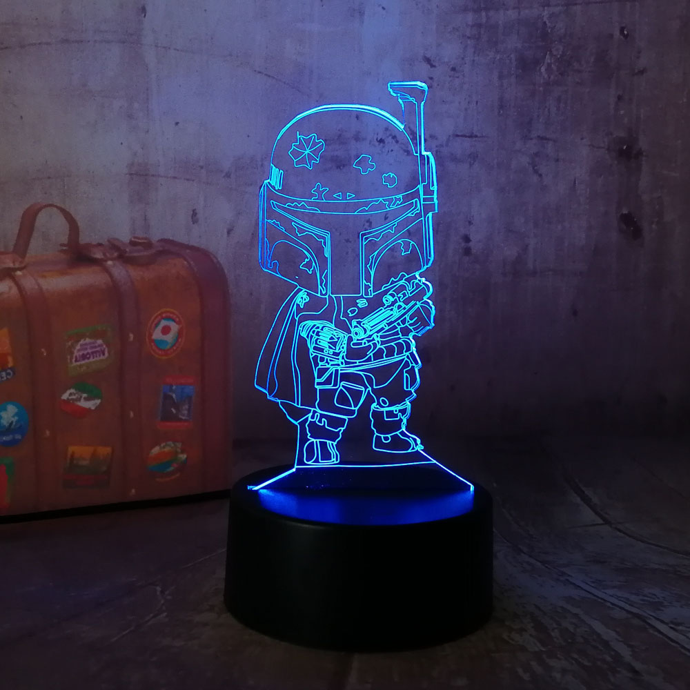 Us 3 94 48 Off New Star Wars Cute Black Knight 3d Led Night Light Amazing 7 Color Change Remote Sleep Desk Lamp Toys Gift For Kids Multicolor In Led