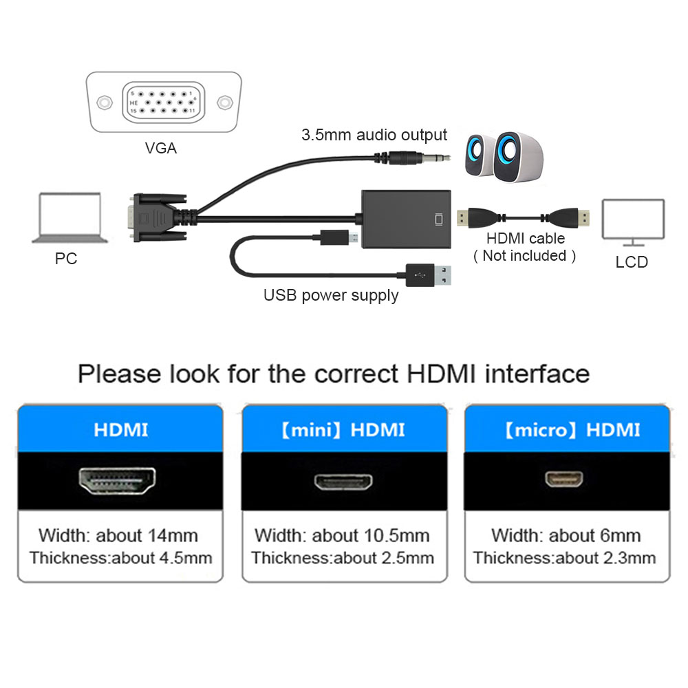vga to hdmi converter adapter output 1080p hd audio tv av hdtv video cable converter adapter for tv pc laptop projector in vga cables from consumer  [ 1000 x 1000 Pixel ]