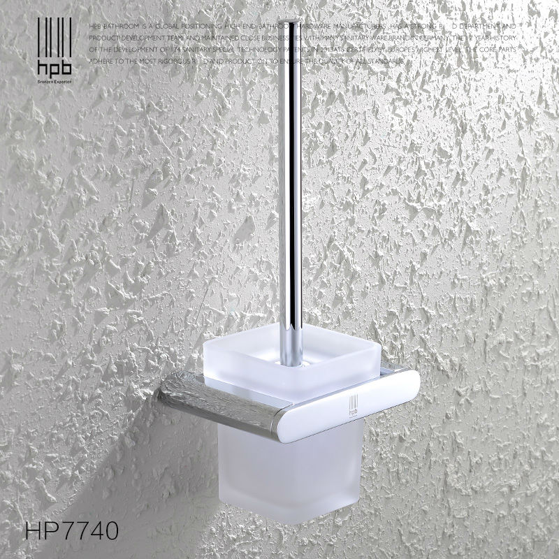 BULUXE Brass Toilet Brush Holder Frosted Glass Cup Bathroom Accessories Brosse WC Brush Set HP7740 free shipping ba9105 bathroom accessories brass black bronze toilet paper holder