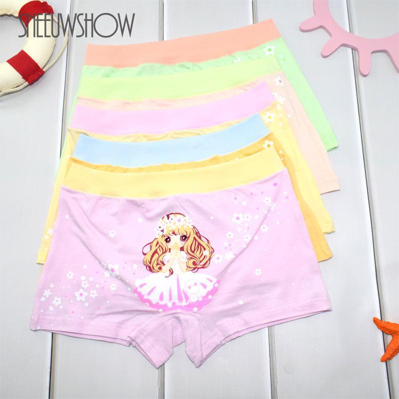 (5 Pcs)/lot New Girls Underwear Teenage Kid Children Boxer Underwear Girl Cotton Pants For Kids Pants Briefs Panties Underpants