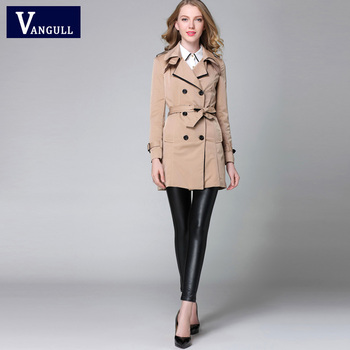 VANGULL 2016 New Fashion Designer Brand Classic European Trench Coat khaki Black Double Breasted Women Pea Coat real photos 6