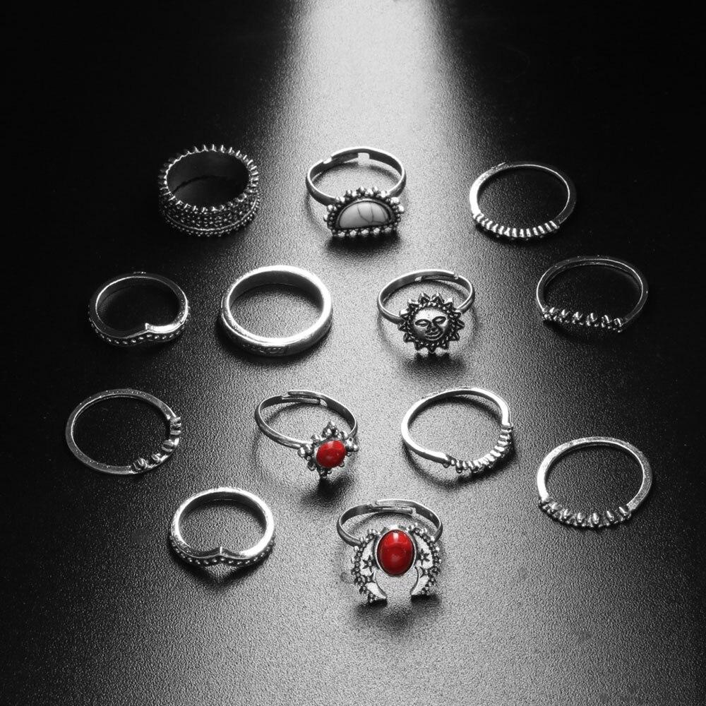 Bereidwillig 14 Stks/set Mode Punk Vintage Zilveren Kleur Steen Gesneden Vinger Ring Sets Bohemian Midi Knuckle Rings Anillos Mujer Sieraden Producten Hot Sale
