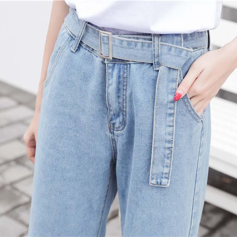 Correa Coreano Otoño Light Alta Mujeres Pantalones Cintura Con Pierna Casual Las Ancha De Vaqueros Mujeres Larga Blue Vintage Suelto Denim Bolsillos TTqdrn