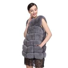 Хорошая цена оптовая 7XL Полный кожа настоящее фокс меховой жилет средней длины меховой жилет женский верхняя одежда женщин nratural меха жилет EMS