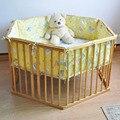 Madera cama de bebé multifuncional cama juego hexagonal valla juego cinturón beige circleof