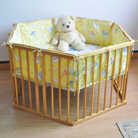 Wood multifunctional baby bed game bed hexagon game fence belt beige circleof