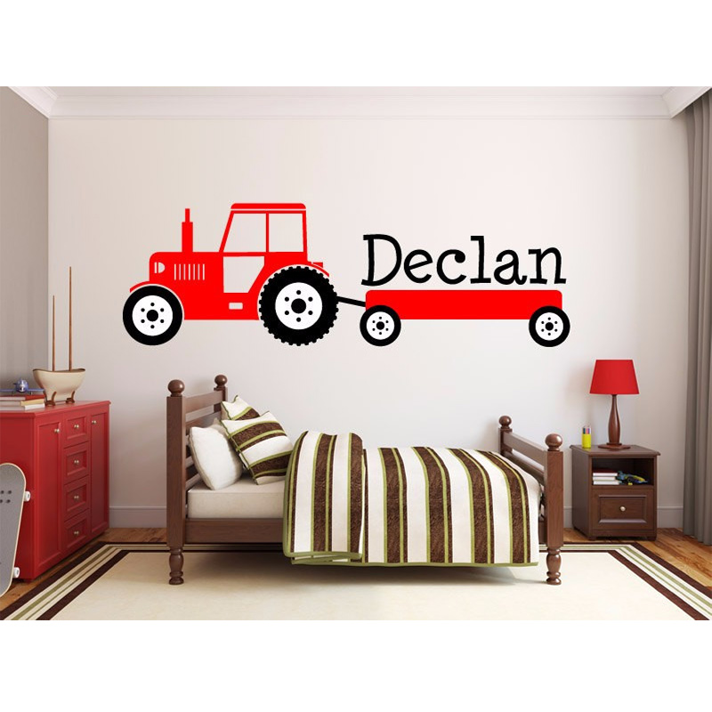 Boys Tractor Name Monogram Decal Nursery Room Vinyl Wall Decal Graphics Boys Baby Bedroom Home Decor Free Shipping Size 140x50cm