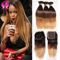 8a Peruvian Straight Ombre Hair With Closure 4 Bundles Remy Virgin Peruvian Hair Bundles Straight Ombre Weave Longqi Hair
