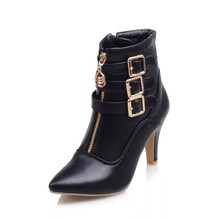 Big size 32-45 Autumn winter style ankle women woman ankle boots pointed toe high heels short boots Wholesale and retail 9-8