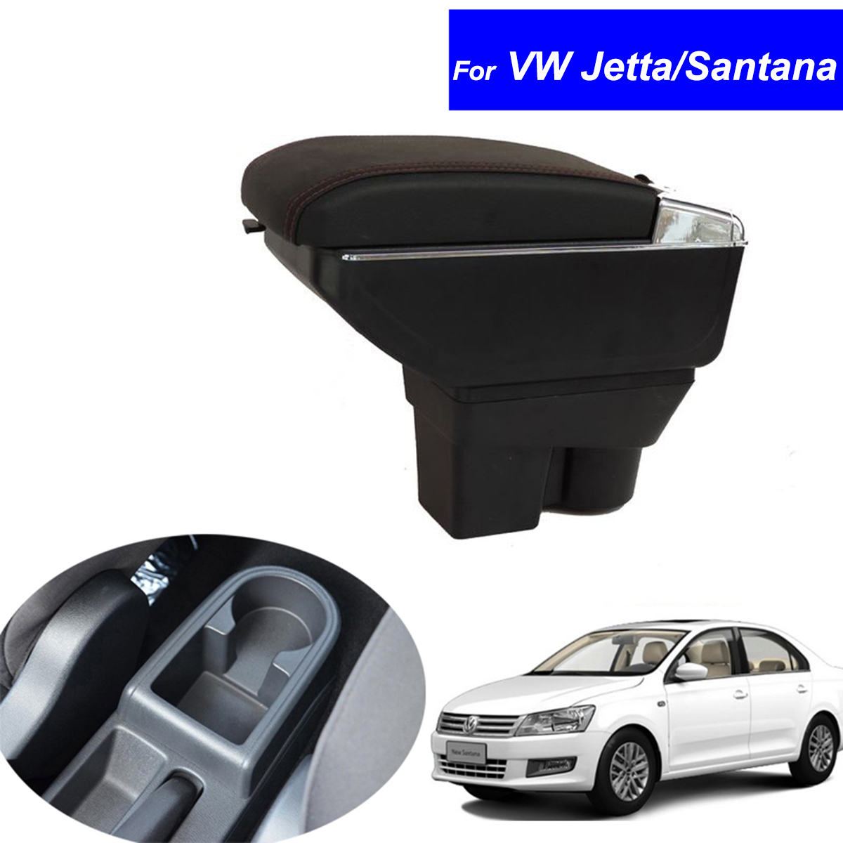 Leather Car Center Console Armrest Box for Volkswagen VW Santana / Jetta 2013 2014 2015 2016 Armrests with USB Free Shipping for skoda octavia 2009 2010 2011 2012 2013 2014 2015 2016 armrest with usb leather car center console armrests storage box