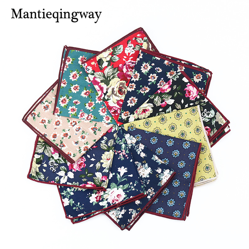 Mantieqingway Causal Men's Handkerchief Pocket Square Printed Hankies Chest Towel 23*23CM Cotton Handkercheifs For Wedding Party