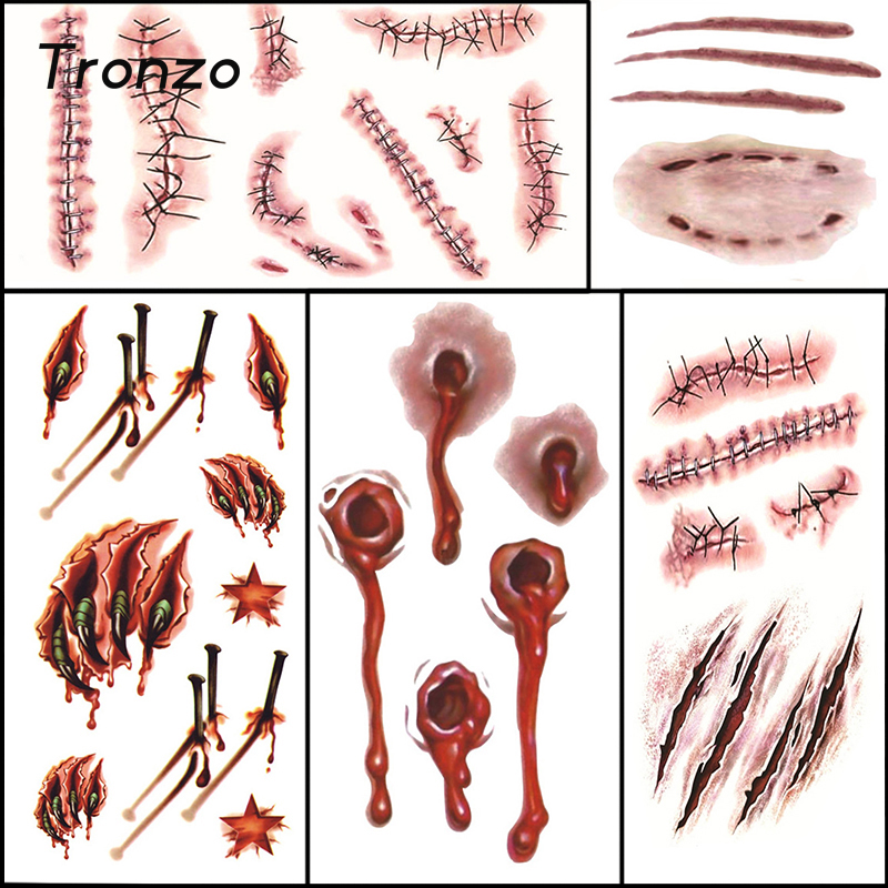 tronzo hot halloween tattoos sticker zombie scars with fake scab bloody makeup halloween decoration horror wound props - Bloody Halloween Decorations