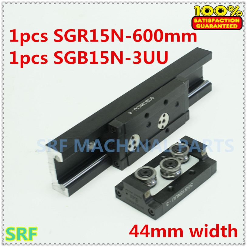 44mm width Aluminum Square Roller Linear Guide Rail 1pcs SGR15N Length=600mm with 1pc SGB15N-3UU three wheels block for CNC high precision low manufacturer price 1pc trh20 length 1000mm linear guide rail linear guideway for cnc machiner