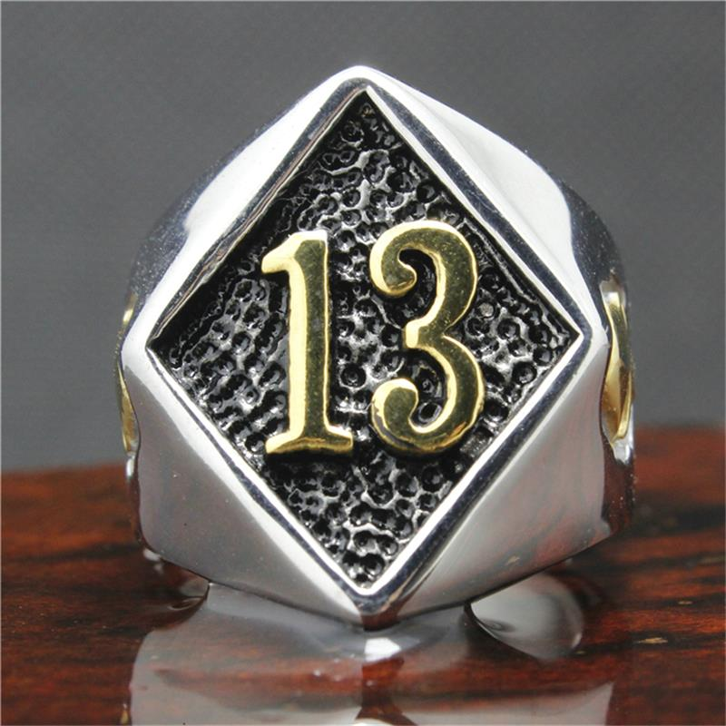 316l stainless steel silver biker 13 ring mens motorcycle