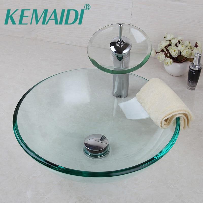 KEMAIDI UK Rotonda Trasparente Bagno Bacino Vessel Vanity Sink Miscelatore Bagno In Vetro Temperato Lavabo Rubinetto Set w/Scarico