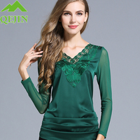 Women pure silk T-shirt V-Neck Long Sleeve Slim Knitted Chemise Femme Tops Embroidery flower fashion lady bottoming shirts L-5XL