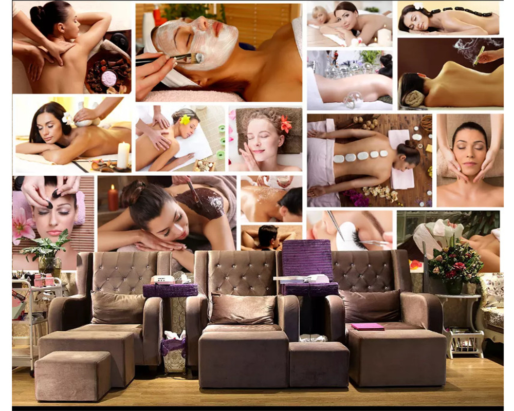 beibehang Custom fashion formaldehyde-free wallpaper beauty health club physical therapy massage center background 3d wallpaper