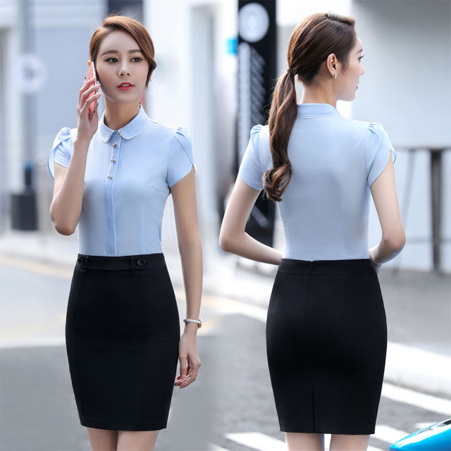 0940d7b5ce0c 2017 Summer Fashion Elegant Skirt Suits With Tops And Skirt For Ladies  Office Professional Uniforms Outfits Plus Size 3XL