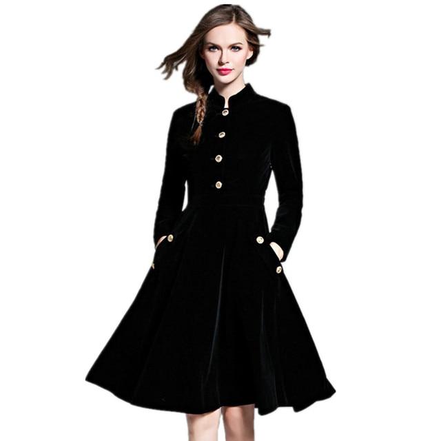 Luxury Brand Women Dress 2016 Fall Winter Style Velvet Blend Elegant Dresses Ladies Long Sleeve Fashion Vestidos Dress DR424