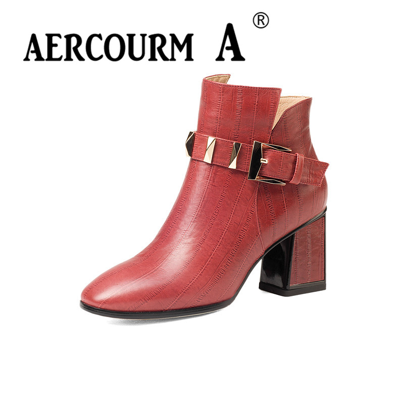 Aercourm A 2017 Ankle Boots Women Genuine Leather Shoes Cowhide High Heel Shoes Metal buckle Brand Shoes Women Zippe Boots Z958 aercourm a 2018 women black fashion shoes female bright genuine leather shoes pearl high heel pumps bow brand new shoes z333