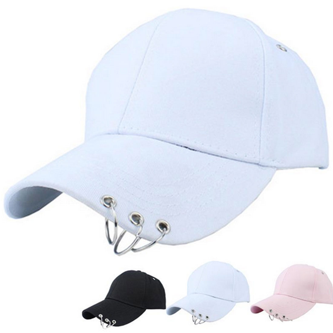 Gift baseball cap with two rings men women hip hop Rapper Popper Locker Jazz dancer cap sun hat in Men 39 s Baseball Caps from Apparel Accessories