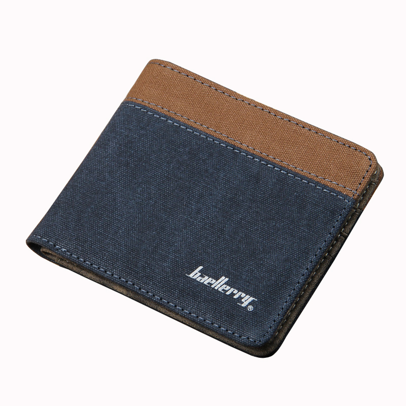 2017 Baellerry Brand New Casual Canvas Fabric Men Short Wallet Vintage Money Coin Purse Card Holder Student Pocket Clutch Bag