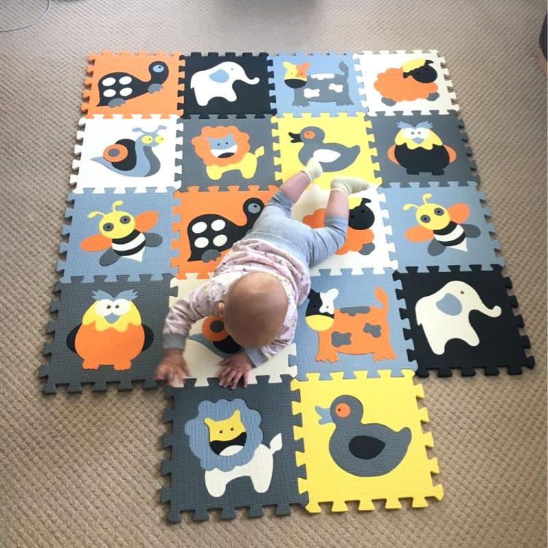 MEIQICOOL 18 PCS/ENSEMBLE bébé tapis de jeu de bande dessinée eva mousse tapis de puzzle enfants puzzle jeu pour l'éducation chiffres jouer tapis infantile tuiles