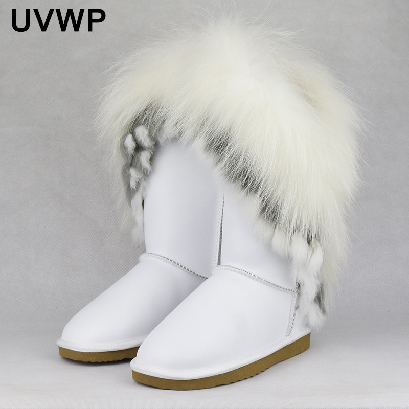 New Fashion Style Big Natural Fox Fur Snow Boots Real Cow Leather High Snow Boots for