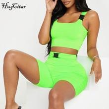 Hugcitar buckle band slash neck neon green camis 2019 summer women fashion sexy club streetwear crop tops