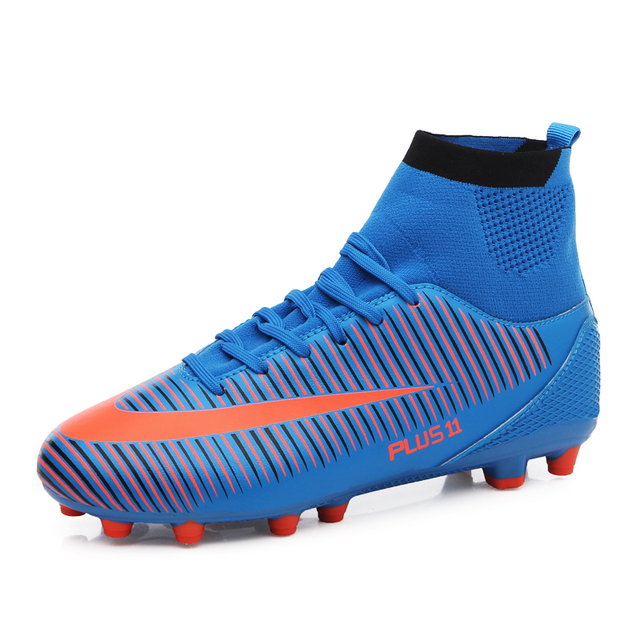 Для мужчин высокого верха Футбол бутсы aterproof из искусственной кожи Футбол сапоги с заклепками Футбол обувь плюс Nail спортивная обувь