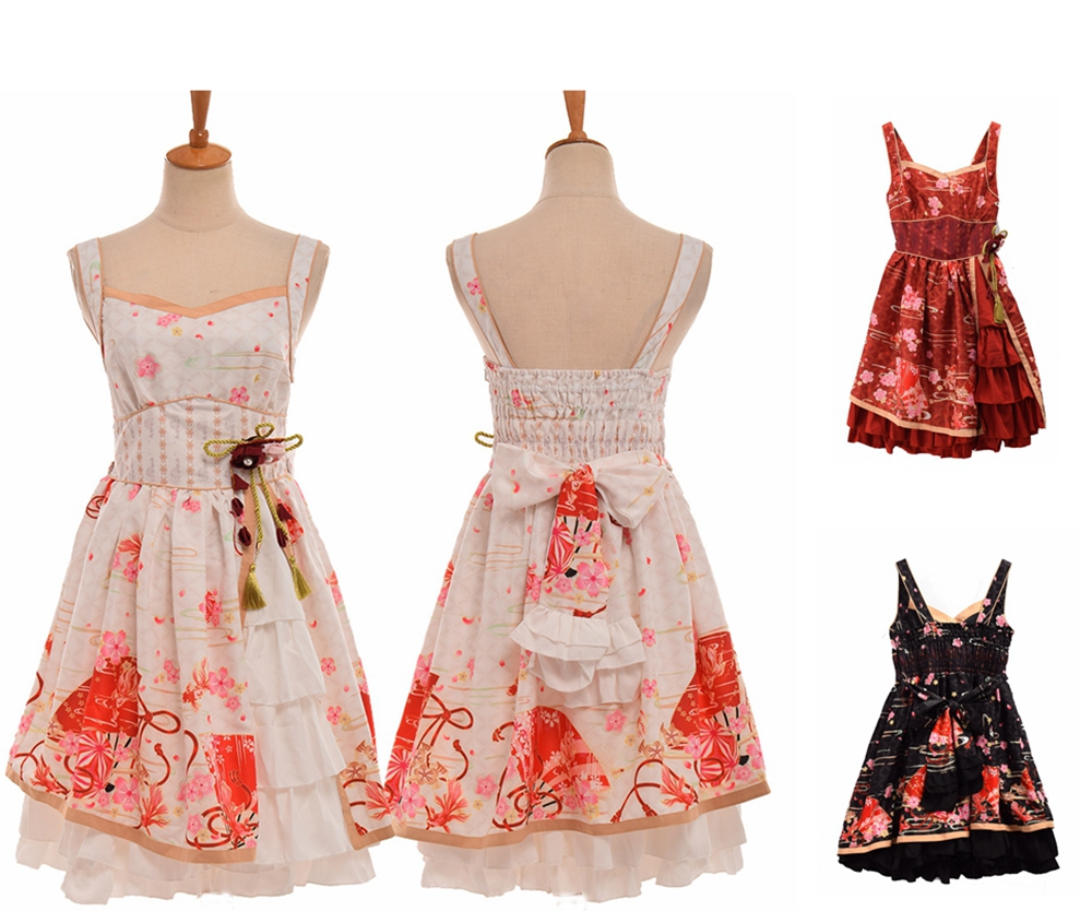 Women Sakura Flowers Print Costume Japanese Vintage Lolita Suspender Dress