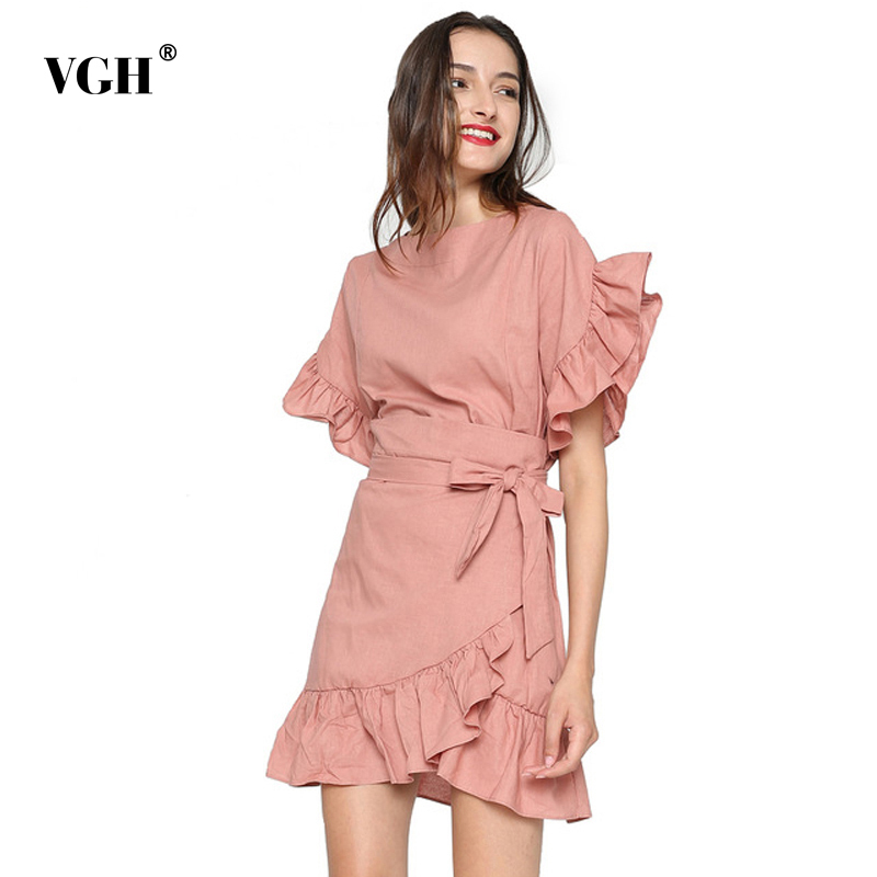 16c902a17 VGH Irregular de manga de pétalo camisa de verano de mujer de encaje  delgado con túnica Delgado dobladillo volantes 2018 blusas ropa femenina  Vestidos