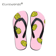 21dc2905076b ELVISWORD Cartoon Pineapple Printing Flip Flops Women Casual Slippers Non-slip  Females Slip-on
